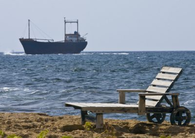 cyprus_grounded_container_ship_deck_chair_sea